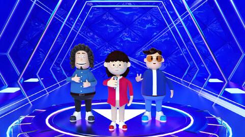 Cartoon man cartoon woman host curly hair male glasses male singer