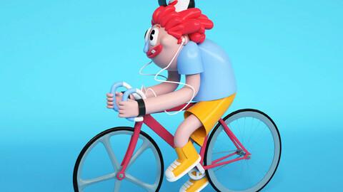 Cartoon boy puppet man red hair ugly man riding cartoon man cartoon
