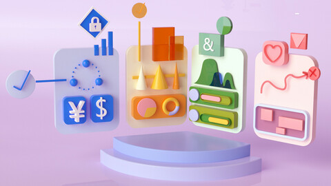 Cartoon element Cartoon scene two-dimensional office UI icon