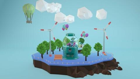Candy machine, electric fan, wind power, lowpoly island, floating island
