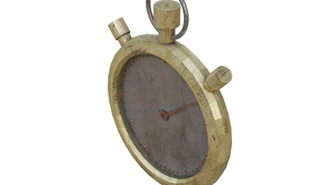 Gold Retro Stopwatch Low Poly 3D Model