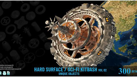 300 Details Hard Surface _Sci-Fi Kitbash VOL 02