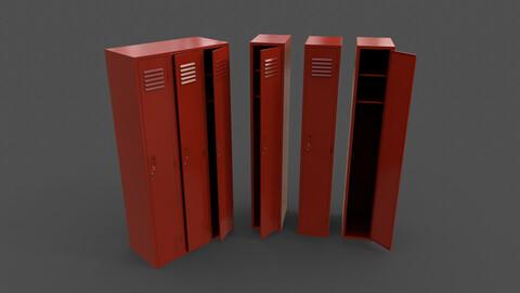 PBR School Gym Locker 03 - Red