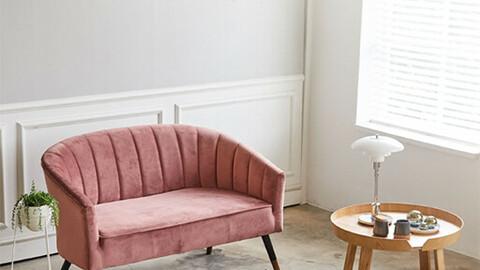 Aaron Velvet Fabric Sofa