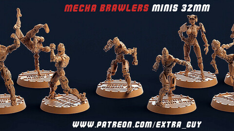 Mecha Brawlers 32mm 3D Printable (15 assets) Unsupported