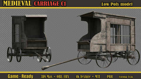Medieval Carriage C1 (Lowpoly)
