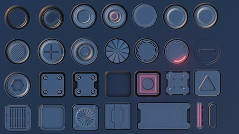 50 Sci-Fi Decals for Blender Decale Machine