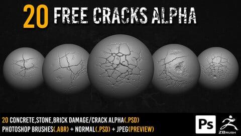 20 free Zbrush Crack alpha + 2k normal + Photoshop Brushes