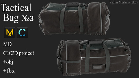 Tactical Bag №3. Marvelous Designer / Clo 3D project +obj/fbx