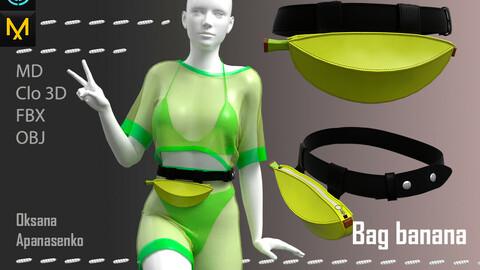 Bag banana. Clo 3D/MD project + OBJ, FBX files