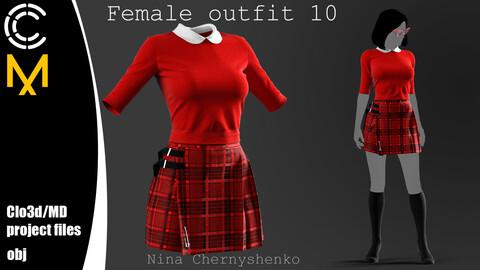 Female outfit 10. Marvelous Designer/Clo3d project + OBJ.