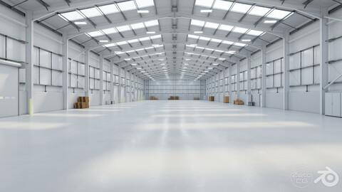 Industrial Warehouse Interior 11b - Textured - UE5 - Blender
