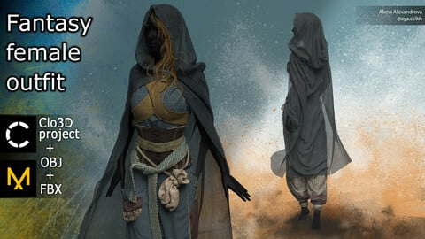 Fantasy female outfit. Clo3D project, MD.