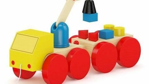 Log building blocks crane toys realistic color building blocks
