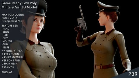 Military Girl Game Ready Low Poly 3D Model
