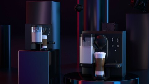 Coffee machine mechanical dark tone scene advanced black CR