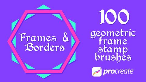 100x Procreate Brushes - Geometric Frame Wreath Box Border Badge