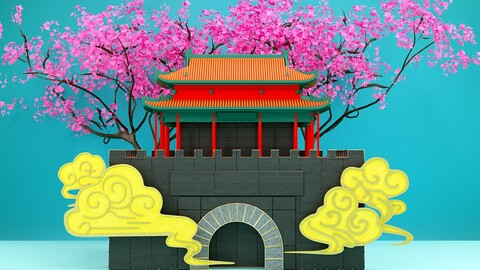 Shangqiu ancient city landmark building cityscape illustration Chines