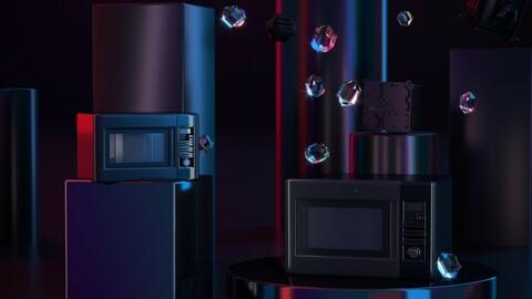 Microwave oven mechanical dark tone scene advanced black CR