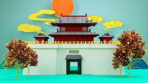 Xiangyang Shao Ming Tai landmark building city scenery Chinese style