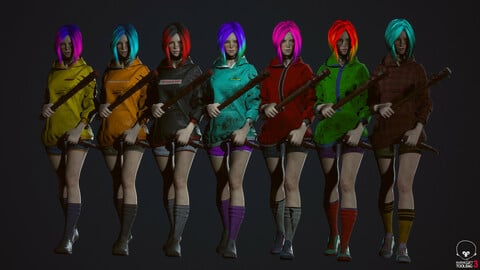 Survivor Girl 3 Low Poly Game Ready