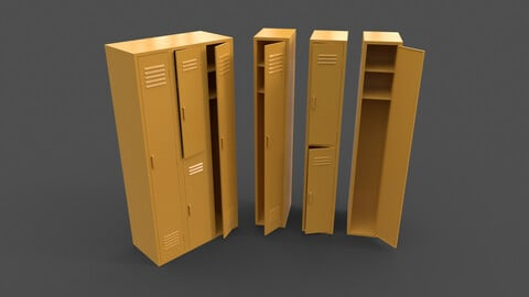 PBR School Gym Locker 04 - Yellow