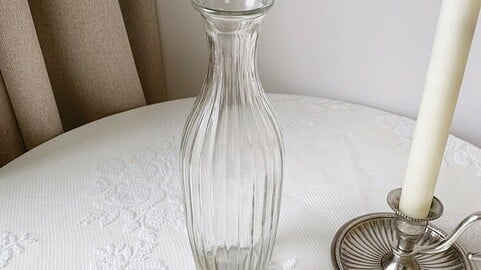 vertical striped glass vase