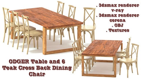 ODGER Table and 6 Teak Cross Back Dining Chair