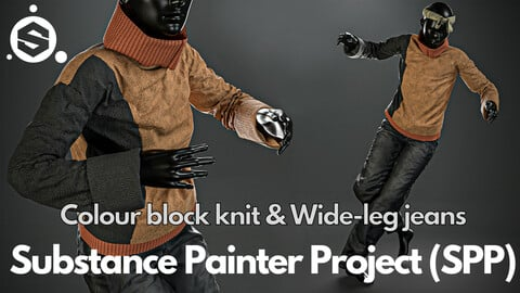 Substance Painter (.SPP) : Colour block knit & wide-leg jeans