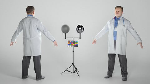 Man in lab coat in A-pose 332