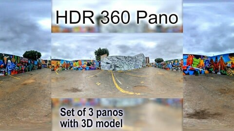 HDR 360 Pano PLUS 3D model of DTLA Arts District Graffiti dead end (set of 3 panos)