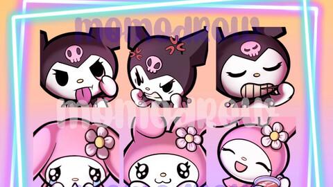 Kuromi x My Melody - 6 Twitch Emotes pack