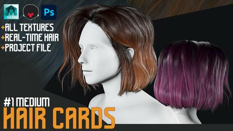 Hair CARDS : Medium Hair Style + Obj Real- time Hair Style + Process Files