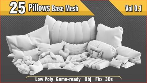 25 pillow base mesh Vol 0.1 - Lowpoly model + UV