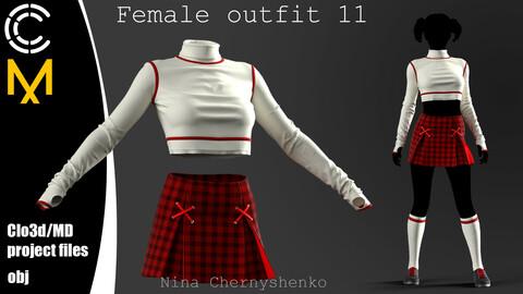 Female outfit 11. Marvelous Designer/Clo3d project + OBJ.