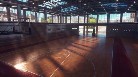 Realistic Indoor Basketball Court NBA Arena Practice Range Training Ground Gymnasium Indoor Gymnasium Floor Training Base Arena Playground Sports