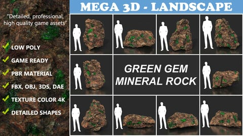 Low Poly Green Gem Mineral Rock 210823