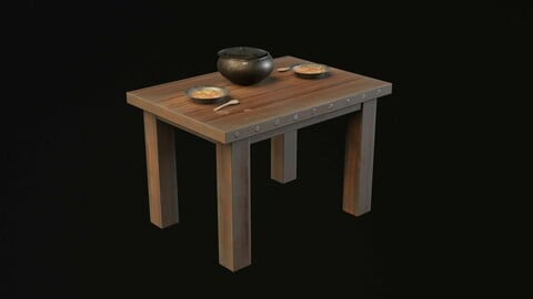 Medieval Table With Stew Game Ready