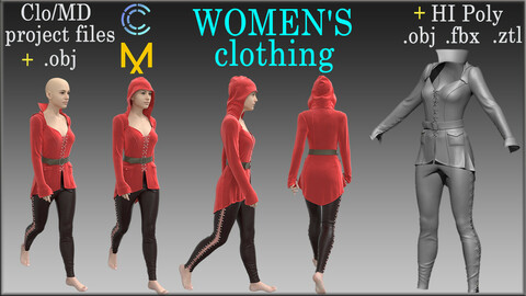 Women's clothing 2 / Marvelous Designer, Clo3d project + HI Poly All Cloth