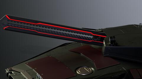 Gameready Sci-Fi Heavy Tank With Railgun