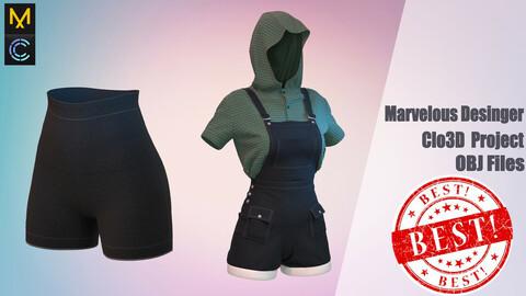 T-shirt, overalls, legens (3 items of goods) / Marvelous Desinger/ Clo3D Project+OBJ file
