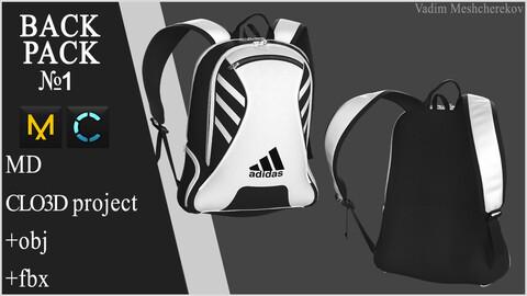 Backpack №1. Marvelous Designer / Clo 3D project +obj