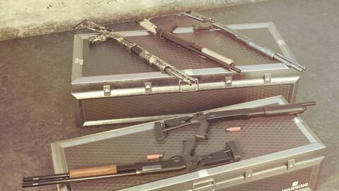 CM353 Shotgun Game Ready 5 Textures Low-poly 3D model