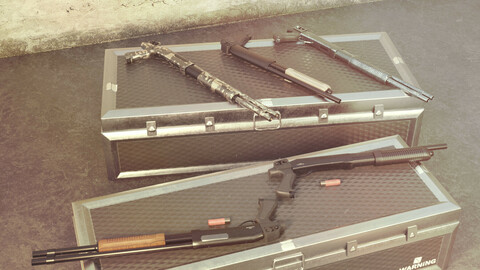 CM351 Shotgun Game Ready 5 Textures Low-poly 3D model