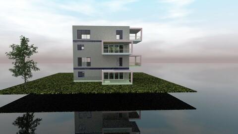 Modern house on island in Ocean 3D model