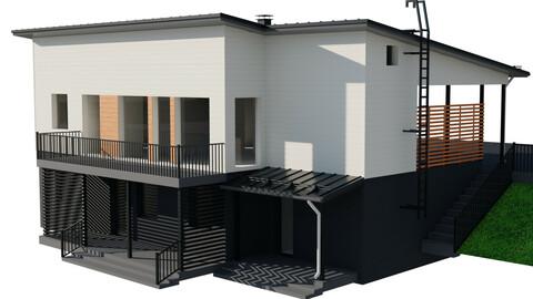 Two-Story Modern Hillside House 3D model