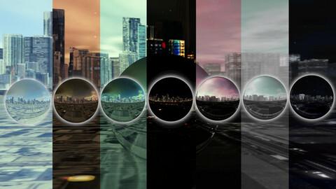 Cubemap Skybox Set B - Mega-Urban Vol 1 - HDRI Skies
