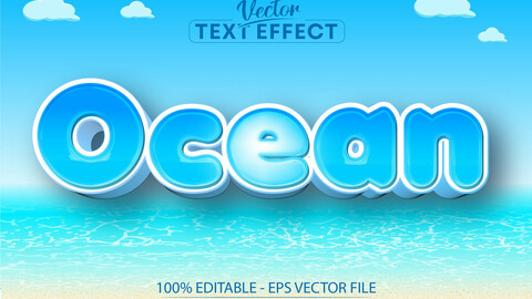 Ocean text, cartoon style editable text effect