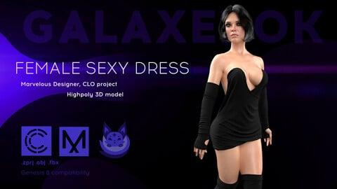 Female Sexy Dress. Avatar genesis 8 Female. Marvelous Designer, Clo3d project. 4K PBR Textures. .OBJ.FBX files