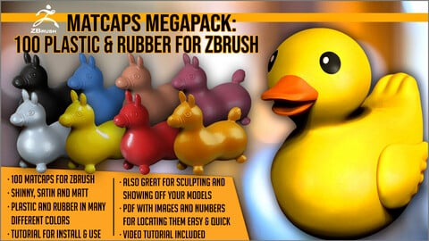 Matcaps Megapack: 100 Plastic And Rubber For ZBrush